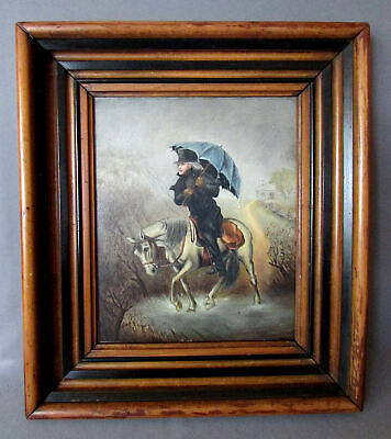 Charming ANTIQUE 19th Century OIL PAINTING on Board GENTLEMAN in the RAIN