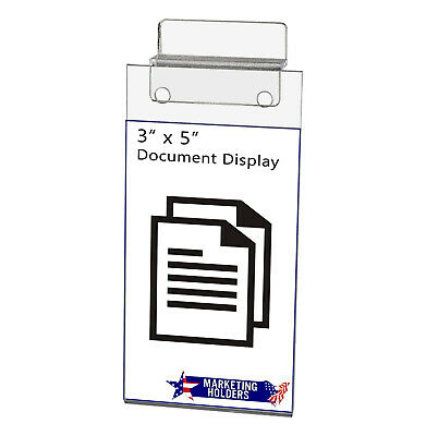 """Small Slat-Wall Ad Frame Sign Holder 3""""W x 5""""H Display Photo Booth Acrylic"""