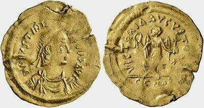 Gold Tremissis of emperor Justinian I (527-565), Constantinopolis. A nice coin!