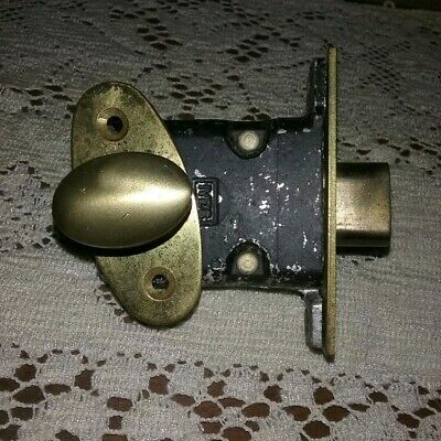 Vintage Ives Brass Mortise Lock Thumb Turn Lock Cabinet Cupboard