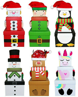 3 Stack-able Nest Gift Present Boxes Christmas Eve Characters UK