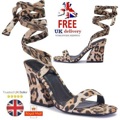TC Branded Vegan Womens Print Block Heels Strappy Ankle Strap Sandals Shoes Size