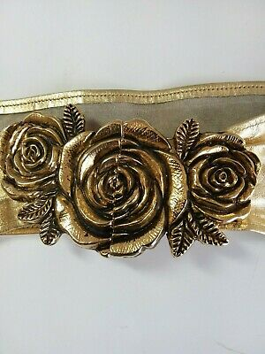 Justin Gold Leather Belt with Rose Buckle