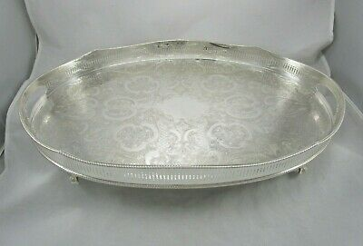 "Ant. English Silver Plate on Copper 22"" Claw Feet Gallery Tray Sheffield England"