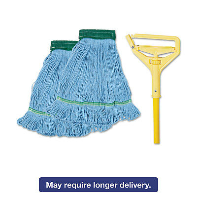 "Boardwalk Looped-End Mop Kit Medium 60"" Metal/Polypropylene Handle Blue/Yellow"