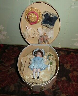 "Adorable 4 1/2"" Antique German Kestner All Bisque Doll With Case & Trousseau!"