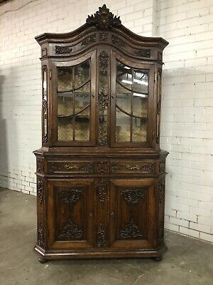 Antique French Bookcase Display Cabinet