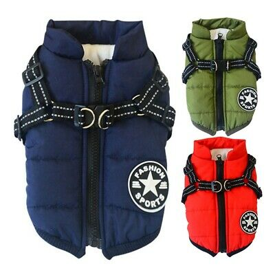 Waterproof Pet Dog Clothes Harness Winter Warm Padded Coat Vest Jacket Apparel