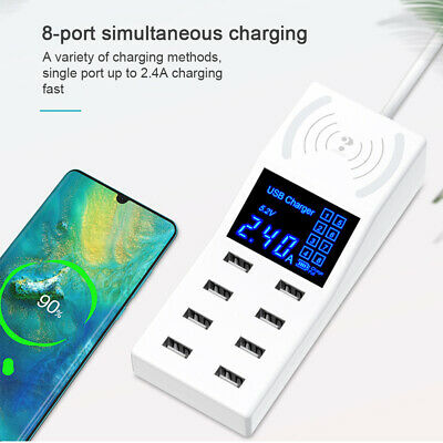 8 Multi-Port Fast Quick Charge QC 3.0 USB Hub Wall Charger Adapter Plug UK New
