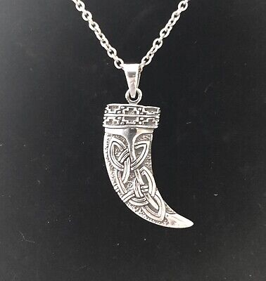 Handcast 925 Sterling Silver Norse Viking Horn Pendant Necklace Free Chain