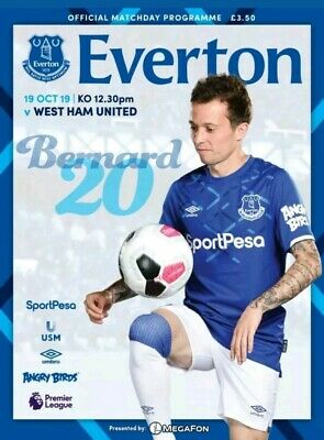 Everton V West Ham United official programme 2019-20 mint condition brand new