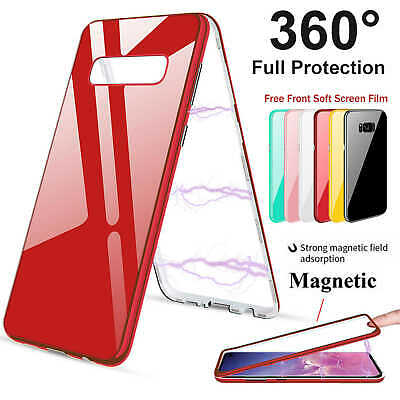 Magnetic Adsorption Tempered Glass Case Cover For Samsung Galaxy S10 Plus Note 9