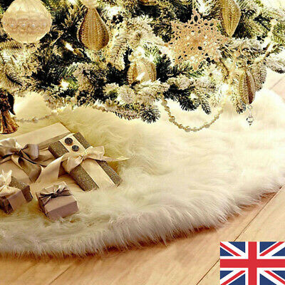 White Christmas Tree Skirt Base Faux Fur Xmas Floor Mat Ornaments Decoration UK