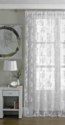 Country Club Encaje Vintage Panel Blanco 145x229cm Visillo Patrón Floral Privacy