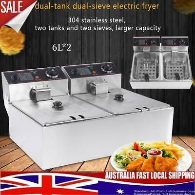 Commercial Electric Deep Fryer 12L - Double Basket Chip Frying 2500W*2 Durable