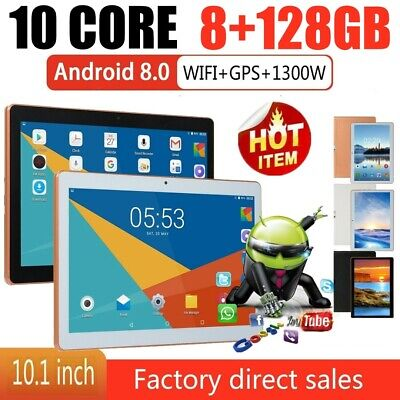 10.1'' 8+128GB bluetooth 4.0 Tablet WiFi Android 8.0 Dual Camera GPS Tablet PC