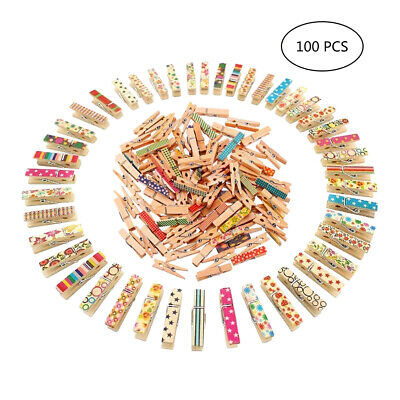100Pcs Mini Painted Wood Pegs Craft Wedding Hanging Photo Small Wooden Clips AU