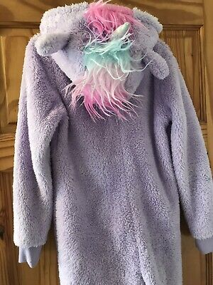 F&F Size Age 9-10 Warm Cosy Unicorn All-in-one 1Onesie Purple Great Condition