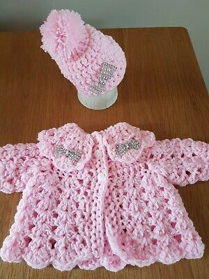 Hand Crochet Newborn Baby Girls  Cardigan And Hat Set With Bling Bow