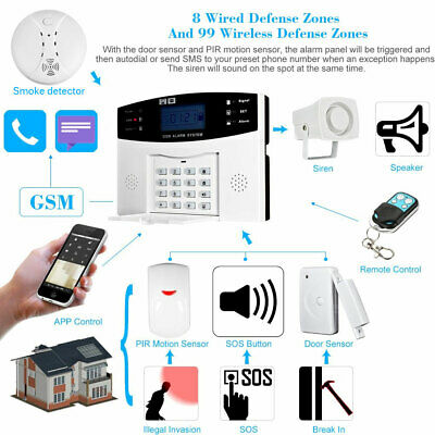 Lcd Wireless Gsm Autodial Sms Home House Office Security Burglar Intruder Alaram