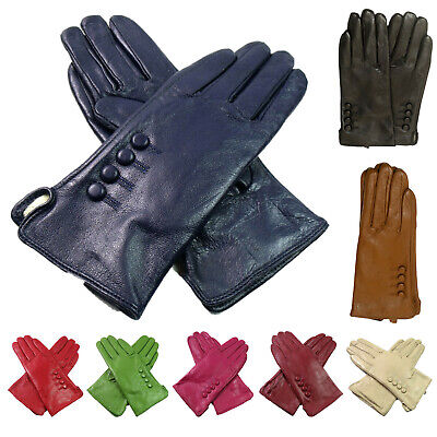 Women's Ladies Premium High Quality Genuine Soft Leather Gloves Fully Lined Warm