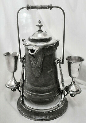 Atq REED BARTON #1867 Slv Plated Tilting Water Pitcher w/Stand & 2TOWLE Goblets