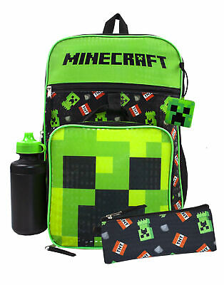 Minecraft Creeper TNT 5 Piece Backpack Set Lunch Box Pencil Case Bottle