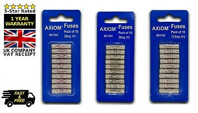 Cartridge Fuses Sets 3/5/13 AMP Domestic Fuse Household Mains Plug Mix Pack x30
