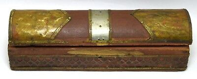Vintage Decorative Small Pencil Box – Indian Brass Fitted Jewelry Box i71-216 UK