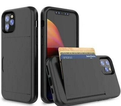 case cover for apple iPhone 11 PRO MAX WALLET CARD SLOT shockproof black