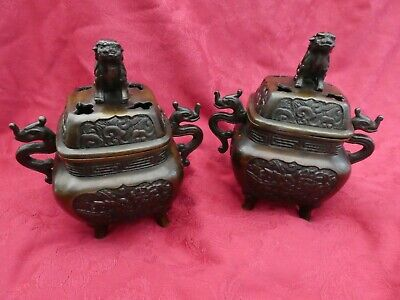 Pair of Bronze Chinese Incense Burners Temple Style