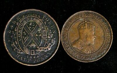 Lot of 2 Canada - 1844 Montreal Lower Canada Half Cent Token & 1909 Large Cent