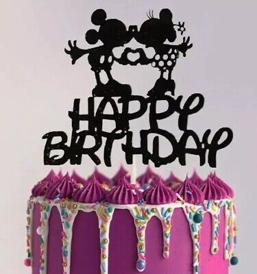 Superb Mickey Minnie Mouse Inspired Glitter Card Birthday Cake Topper Funny Birthday Cards Online Elaedamsfinfo