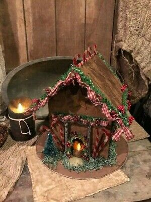 Primitive Christmas Gingerbread House Cottage Homestead Christmas Cupboard Tuck