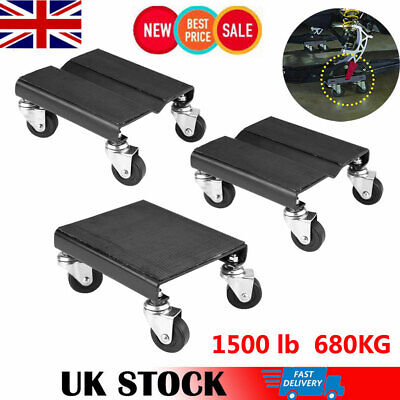 New Set of (3) Auto Dolly Car Dolly Dollies Wheel Tire - 1500Lbs Repair Slide UK