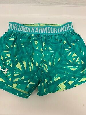 Under Armour Little Girls Shorts Size 5 Green Yellow Abstract Print