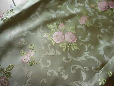 Vintage French Roses Floral Scroll Brocade Jacquard Satin Fabric ~ Green Pink