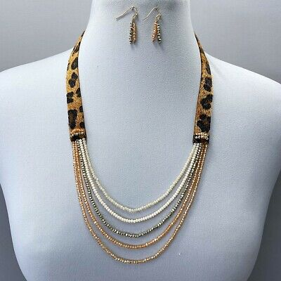 Animal Leopard Print Faux Leather Fur Multi Color Beads Decorated Long Necklace