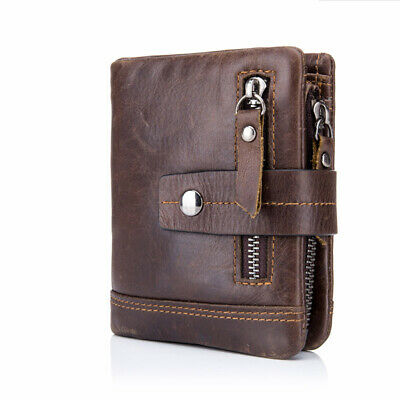 Genuine Leather Men's Wallet Zipper&Hasp Male Card Coin Purse RFID Antimagnetic