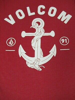 Volcom Stein Anker - Surf Gang - Since 1991 - M Rotes T-Shirt - C1626