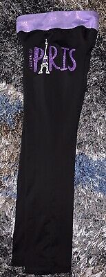 Girls Size 7 Black Stretchy Pants Purple Glitter I Dream Of Paris By Justice Rhi