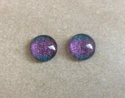 12mm,Cabochons - Glass Domed,  Purple and Blue Glitter, 2pcs Diy Jewellery