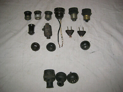 LOT 13+ Vintage Antique Electrical Bakelite Adapters, Sockets, Switches + Plugs