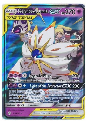 Pokemon Cosmic Eclipse 075/236 Solgaleo & Lunala Gx (Tag Team Half Art)