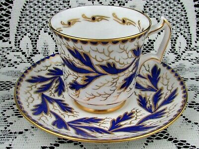 Royal Chelsea  Art Deco Style Blue Gold Designs Tea Cup And Saucer