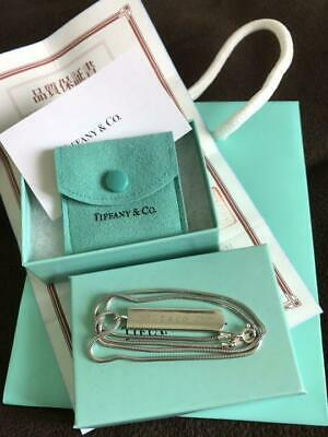 Tiffany & co.Silver 925 Snake Chain 1837 Bar Pendant Necklace w/Box Authentic