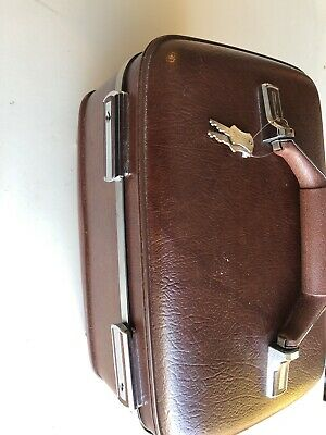 NICE American Tourister luggage Cosmetic train case Brown With Keys Clean