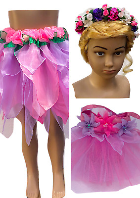 Girls Fairy Skirt Kids Fairy Skirt Unicorn Fairy Dress Costume Pink LilacSet 3pc