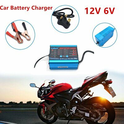 6V 12V Battery Charger Automatic Intelligent Fast Cars Bike Vans MotorCycle Boat