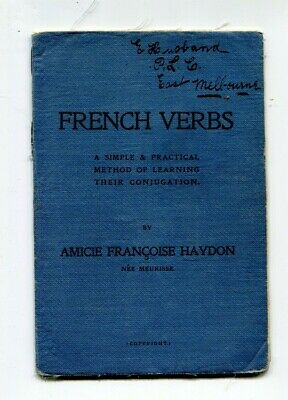 School Book Melbourne 1908  French Verbs PLC Melbourne